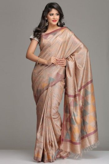 Beige Tussar Silk Saree With Multicolored Zigzag Pattern, Temple Border And Pallu With Colourful Triangles