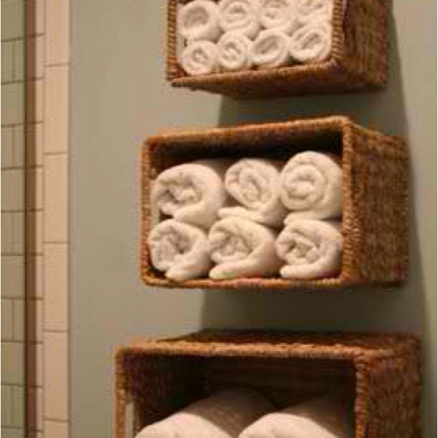 Diy wicker basket shelves cheap revamps pinterest - Bathroom storage baskets shelves ...
