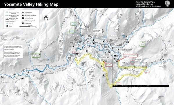 Yosemite Hiking Map Four Mile Trail Panorama Trail Read