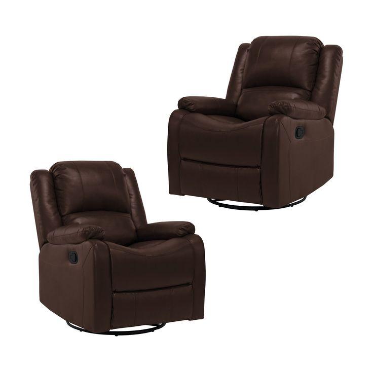 "2 RecPro Charles 30"" RV SGR Swivel Glider Recliner Chair Mahogany RV Furniture"