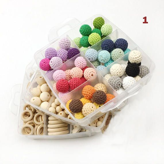 Beaded Jewelry Set DIY Knitting Crochet Baby Chew Teether Necklace Bracelet Wood Silicone Rope BPA Free Safe for Children Mother Gift 388 pc
