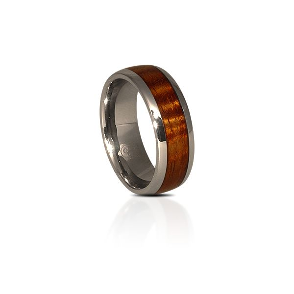 The most amazing fiddleback Koa in a titanium ring.  Waterproof, lifeproof