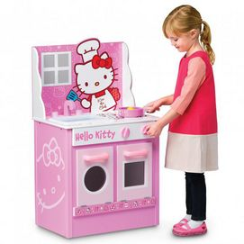 Your child can be the master of her kitchen with Hello Kitty by her side. This cute kitchen play set offers opening doors, moving parts and clicking sounds to make play time feel real. Kids role-play that they are busy in their own designer kitchen Features an open and close oven door, an open and close washing machine and turning control dials with clicking sounds, the sink has a moveable, poseable faucet and turning faucet handles Ages 3 years and up
