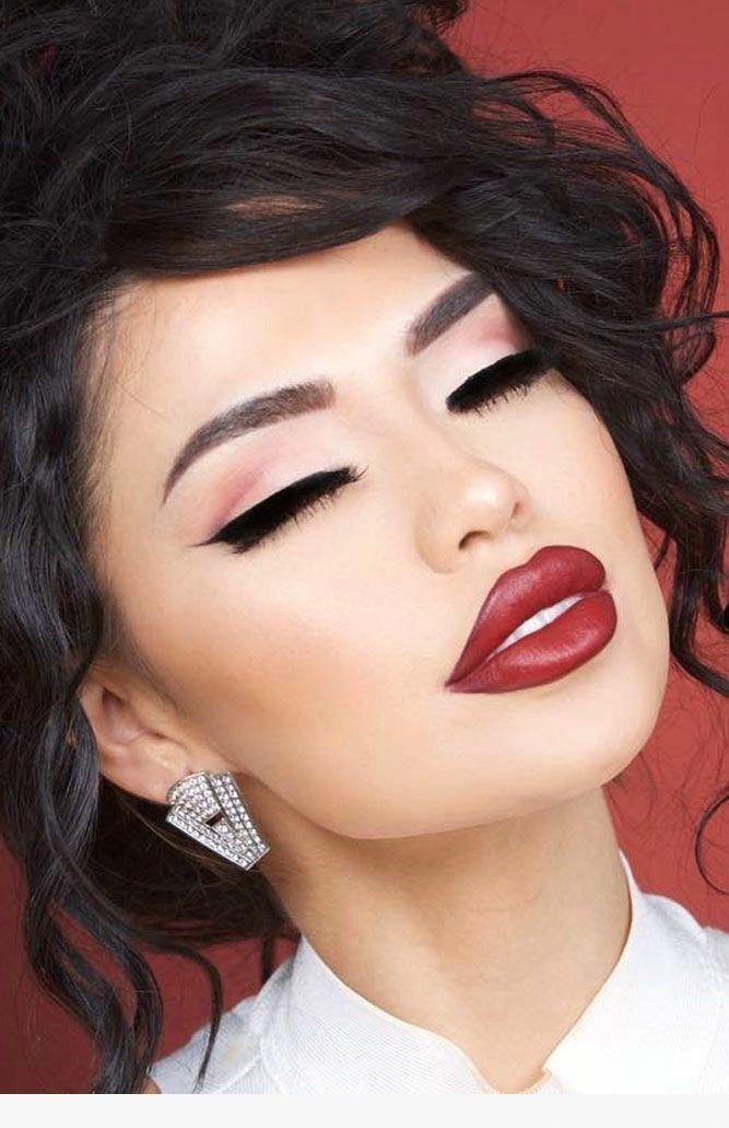 Black Winged Linger And Bold Red Lip Redlips Makeuplooks Pink