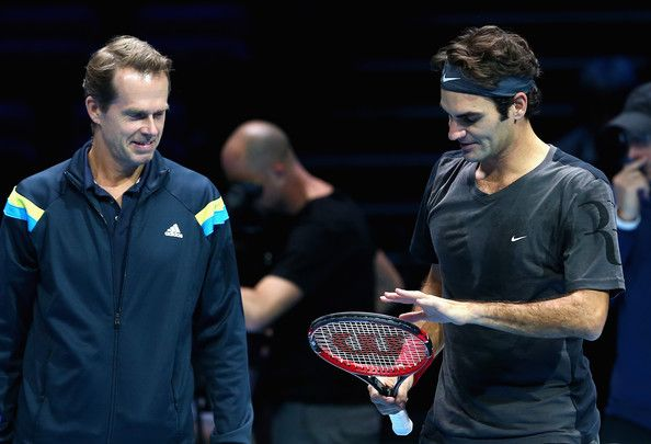 Roger Federer and Stefan Edberg Photos - Roger Federer of Switzerland discuses his racket with coach Stefan Edberg during the Barclays ATP World Tour Finals tennis previews at the O2 Arena on November 8, 2014 in London, England. - Barclays ATP World Tour Finals: Previews