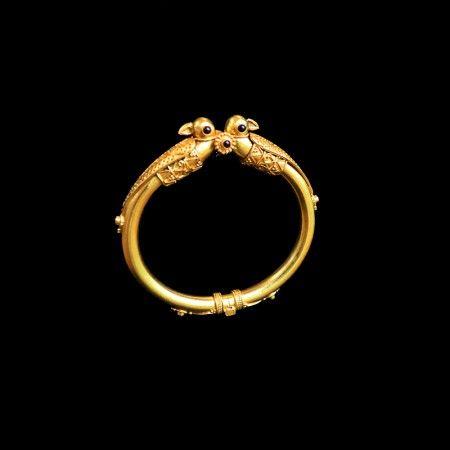 temple jewellery bangles in kada style with peacocks