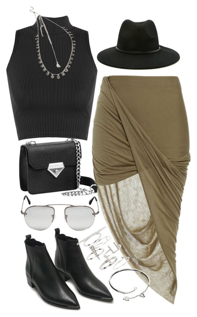 """""""Outfit with a khaki skirt and Chelsea boots"""" by ferned on Polyvore featuring Bardot, WearAll, Acne Studios, Topshop, Cartier, Forever 21, Prada, women's clothing, women and female"""