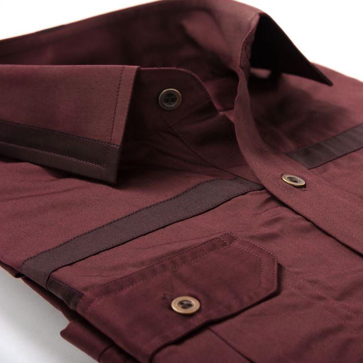 Burgundy on burgundy work shirt