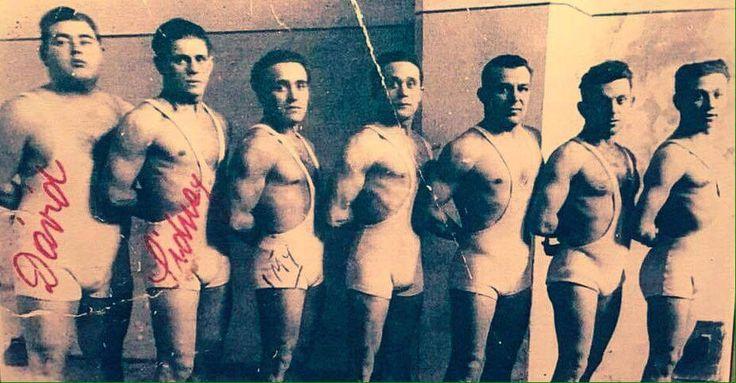 Imi, third from left.  Wrestler.