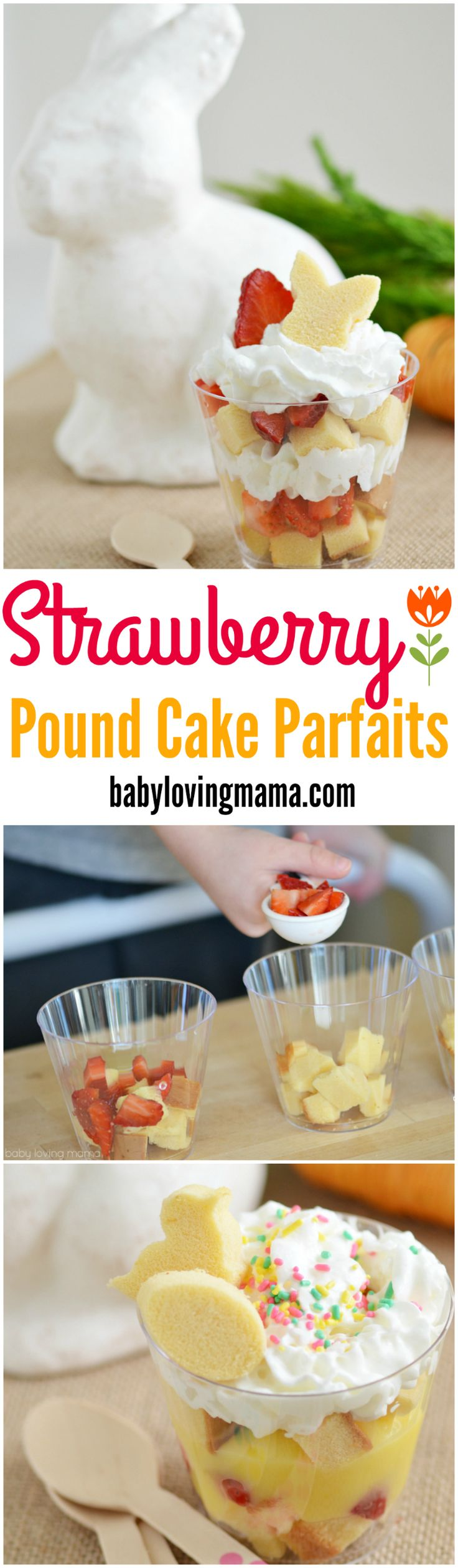 Strawberry Pound Cake Parfaits: These easy strawberry pound cake parfaits are a great spring or Easter dessert featuring cake shapes, strawberries and whipped cream.