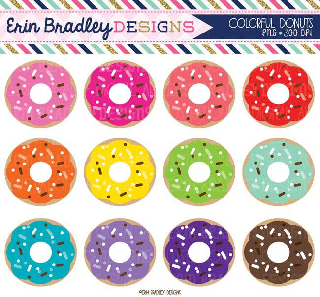 Colorful Donuts Clipart Graphics Instant Download Personal & Commercial Use Food Clip Art