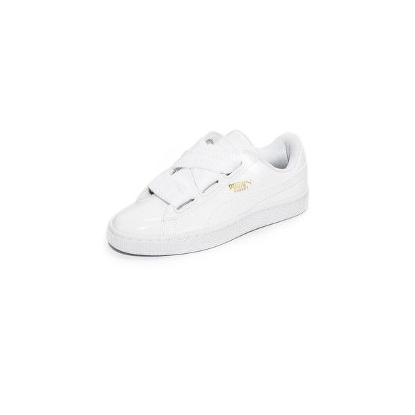 PUMA Basket Heart Patent Sneakers ($85) ❤ liked on Polyvore featuring shoes, sneakers, white, patent leather sneakers, wide width shoes, white sneakers, woven sneakers and white trainers