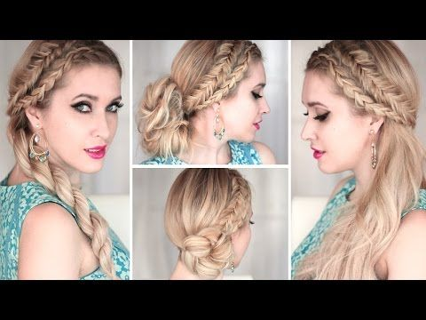 4 cute and easy SUMMER hairstyles with braids ❤ Everyday, prom, wedding ❤ Medium/long hair tutorial - YouTube
