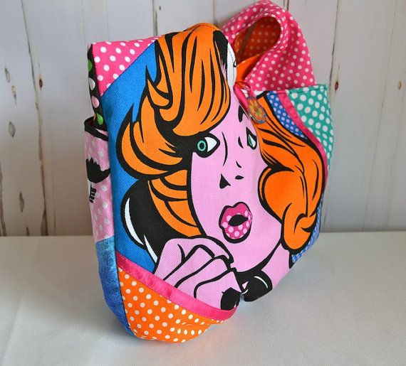 Pop Art sling bag Pink hobo bag orange boho by RobynFayeDesigns