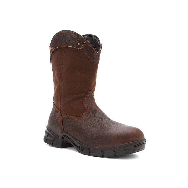 Timberland Excave Wellington WP ST  Boots ($156) ❤ liked on Polyvore featuring men's fashion, men's shoes, men's boots, men's work boots, boots, brown, men, men's pull on boots, mens rain boots and mens steel toe work boots