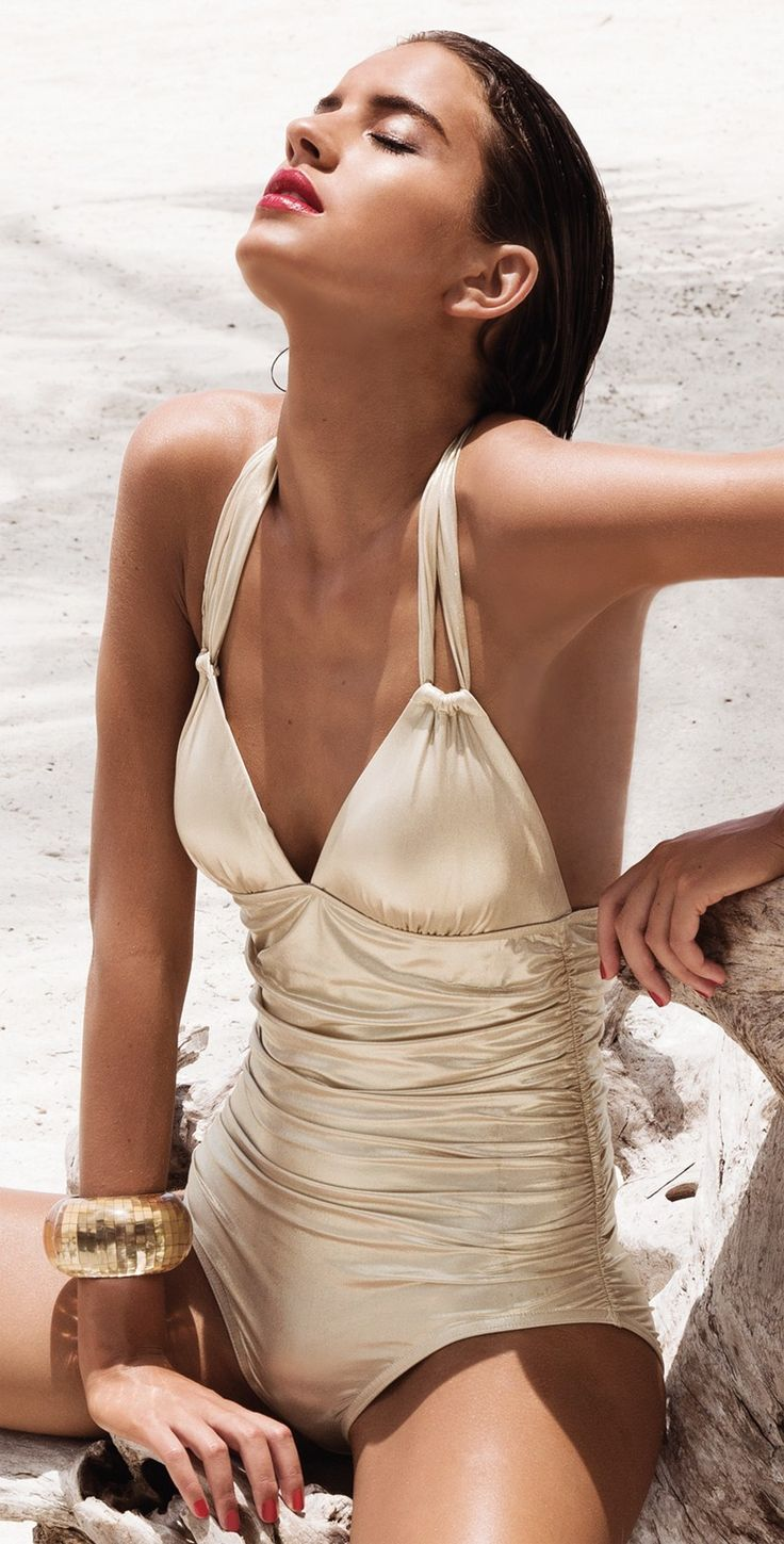 Karla Colletto Gold Halter Swimsuit