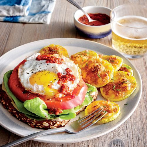 "Egg and Tomato Open-Faced Sandwiches with Cheddar and Chive ""Squachos"""