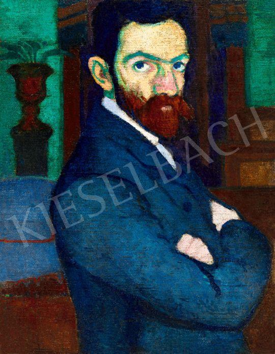 Ziffer Sándor - Önarckép zöld falú nagybányai műteremben festőállvánnyal, 1907 körül | 57. Téli Aukció aukció / 106 tétel