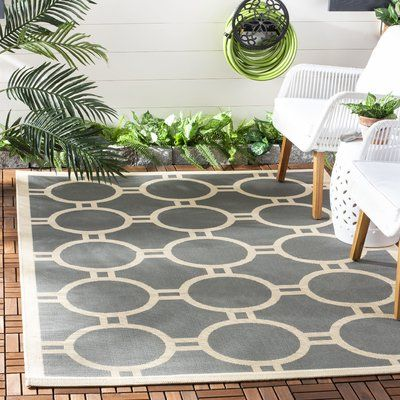 Wrought Studio Sherree Anthracite/Beige Area Rug Rug Size: Rectangle 5'3″ x 7'7″