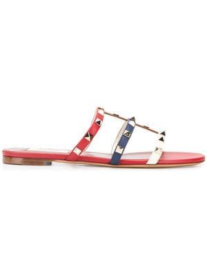 62ae6f656cb21 Designer Sandals For Women - Farfetch Rockstud Flats, Valentino Garavani,  Flat Sandals