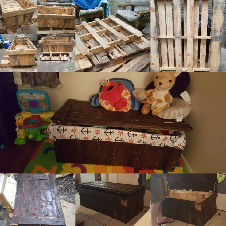 Pallet toy box i did   After 7 long days with sweat tears blood and a whole lot of #@$*$#@*@#$* words i cannt say on here its finely done my boys have a toybox i did all of this my self with just a little bit from my sweet man Jacob