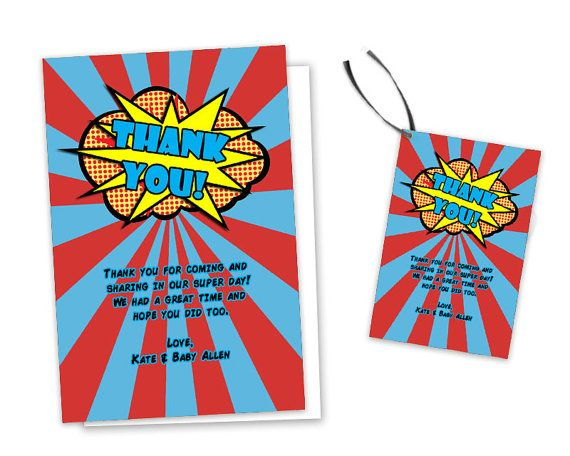 Get the action packed comic superhero Thank You Cards you've been looking for, for your superhero birthday party or superhero baby shower,