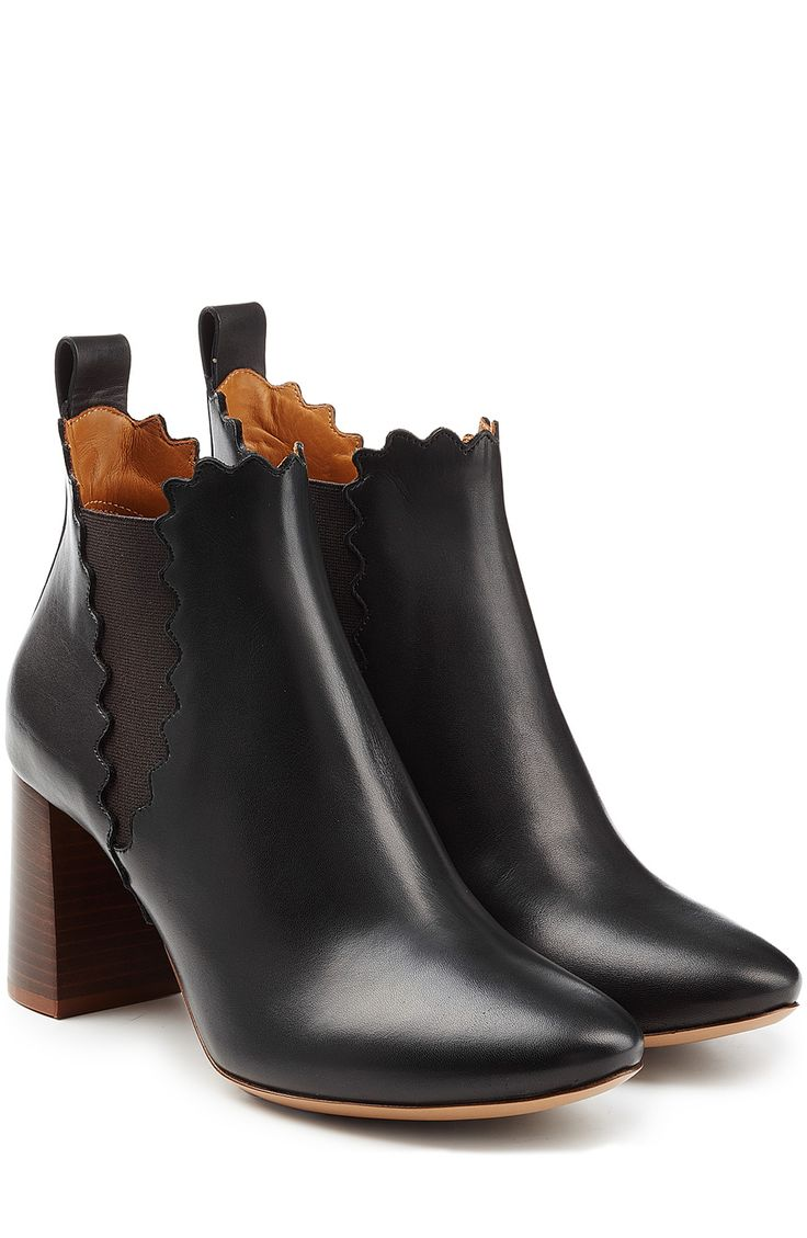 CHLOE Leather Ankle Boots with Scalloped Trim | STYLEBOP.com