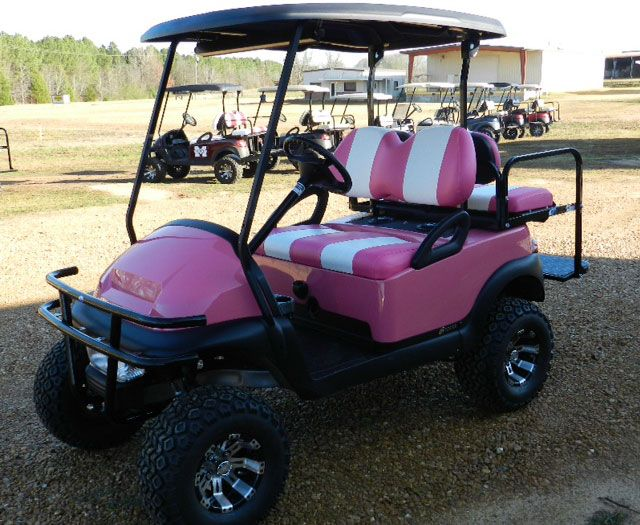 Come to Southeastern Golf Carts for your custom painted golf carts. Check out this one in pink! Call (601) 919-6365 to get one in YOUR favorite color.
