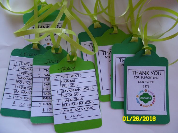 Girl Scout cookie thank you tags made with different green papers, Cricut Bags, Tags cartridge