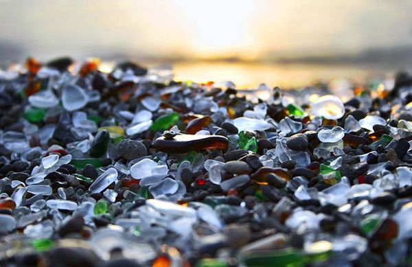 Glass Beach. During the early 20th century residents of Fort Bragg, California chose to dispose of their waste by hurling it off the cliffs above the beach.