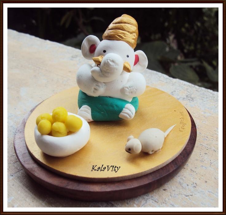 Enjoyed making this Air dry clay Ganesha :)