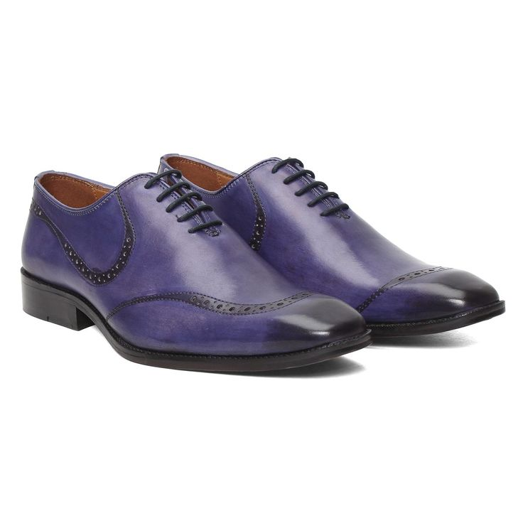 Buy online #HAND PAINTED BLUE #LEATHER #FORMAL SHOES BY BRUNE (MADE ON ORDER) @ voganow.com for Rs.4,249.14/-