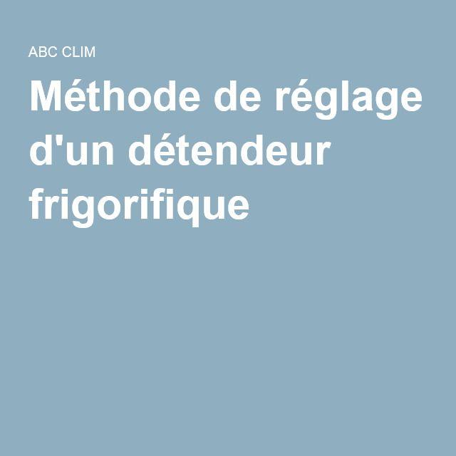 Méthode de réglage d'un détendeur frigorifique