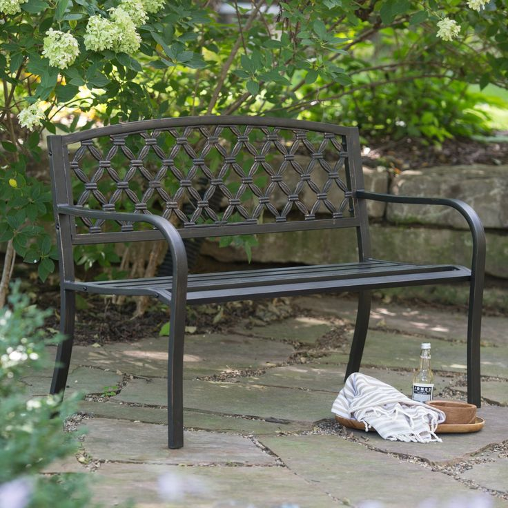 Outdoor Coral Coast Crossweave Curved Back 4-ft. Metal Garden Bench - SV131FH