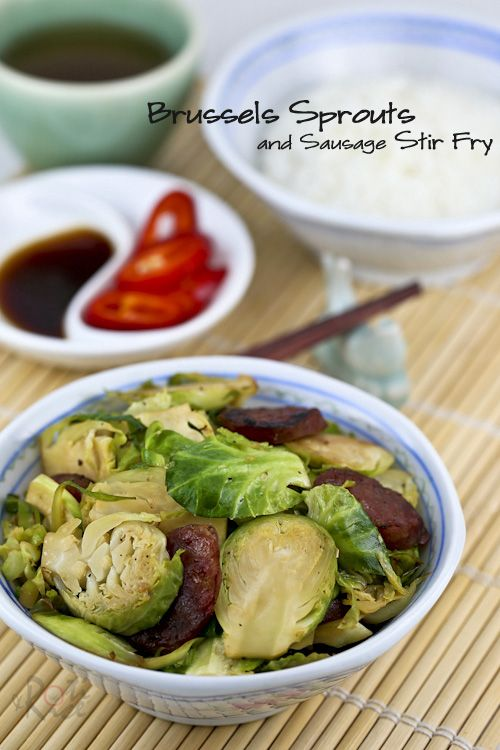 Tasty Brussels Sprouts and Sausage Stir Fry combining Chinese sausage ...