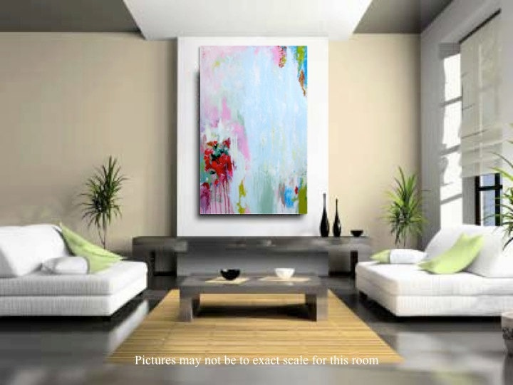 $259 Fine Art Modern Abstract Original Painting , Pink Red, Chartreuse,  Teal Accents   Part 32