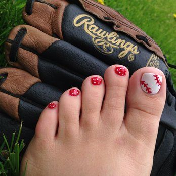 """Baseball"" nail art...gel polish pedicure! So cute!!! 