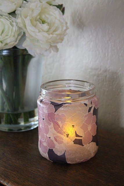 Now I know I'm not crazy for saving pickle jars, jelly jars, empty Yankee Candle jars. I always find a use! Tissue paper, mod podge, battery operated tea light candle (or a real tea light), and fun quotes or sweet messages to the receiver.