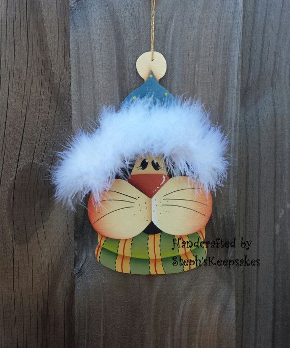 Hand Painted  christmas cat Ornamentchristmas by stephskeepsakes