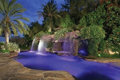 Layers of lush, vibrant foliage with large, brawny leaves and irregular shapes bring an exotic tone to the landscape and make the pool appear as though it were a natural body of water. Photo courtesy of Ultimate Water Creations, Inc., an Aquatech Builder http://www.luxurypools.com/blog/entryid/141/enchanting-features-for-lagoon-style-pools.aspx