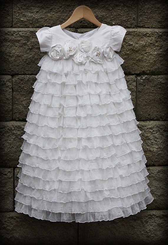 Baby girl: Flower Girls Dresses, Christening Gowns, Blessing Dresses, Ruffles Dresses, Baby Girls, Baby Blessed Dresses, Baptisms Dresses, Dresses Tots, Ruffles Fabrics
