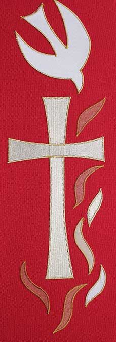 Red stole design dove, cross and flames
