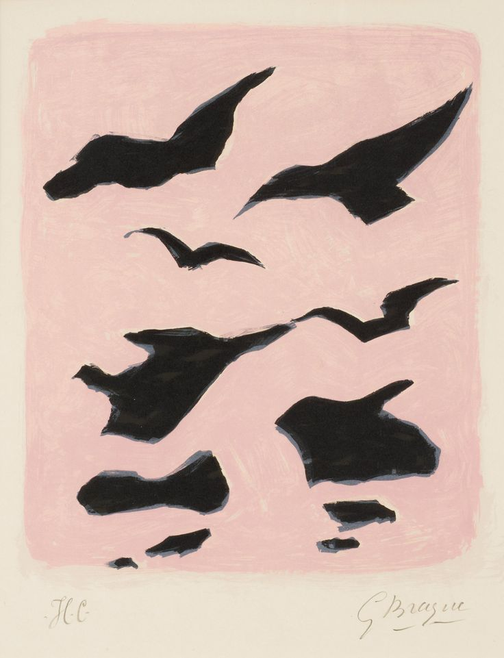 "Georges Braque-1882-1963  ""Oiseaux"" (Coverture pour la revue XXe Siècle). Lithograph 1962,   on Arches paper, signed in pencil and inscribed H.C., printed by Mourlot, Paris, published by XXe Siècle, Paris. P. 31,5 x 26,5 cm. S. 57 x 42,2"
