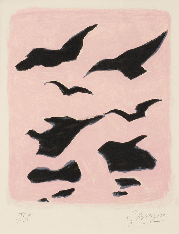 """Georges Braque France 1882-1963  """"Oiseaux"""" (Coverture pour la revue XXe Siècle). (d)"""