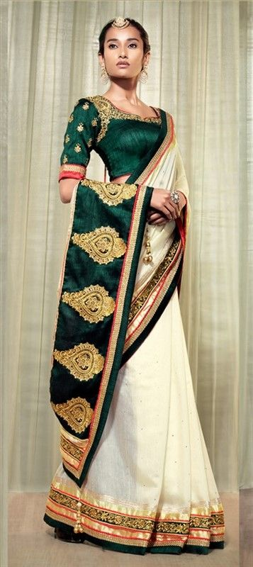 151820, Party Wear Sarees, Embroidered Sarees, Cotton, Machine Embroidery, Stone, White and Off White Color Family