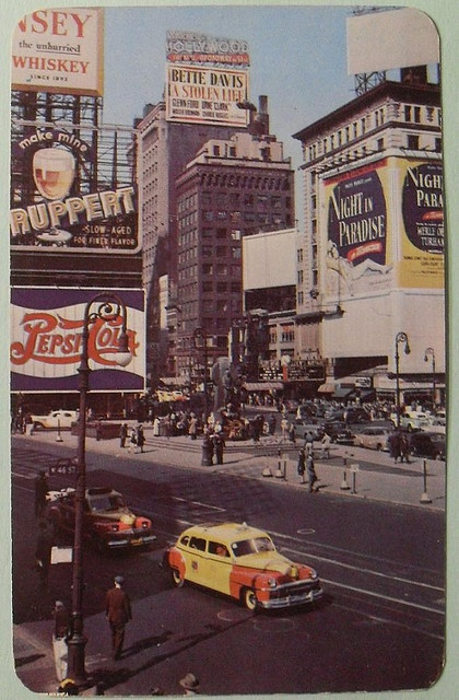 1946 TIMES SQUARE vintage round corner postcard RUPPERT Pepsi Cola NYC New York City photo by Christian Montone, via Flickr