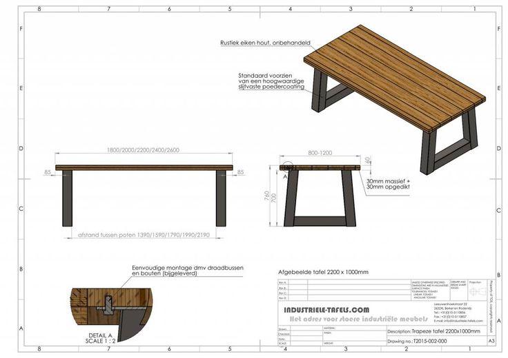 Industriele tafel met trapezium tafelpoten - Industriele tafels