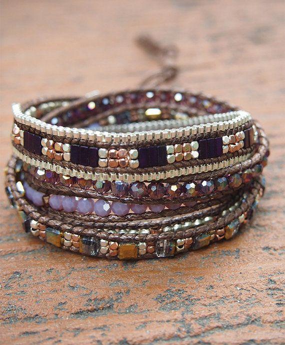 5 times Wrap Bracelet, Purple Crystal beaded mix, Boho bracelet, Bohemian bracelet, Beadwork bracelet