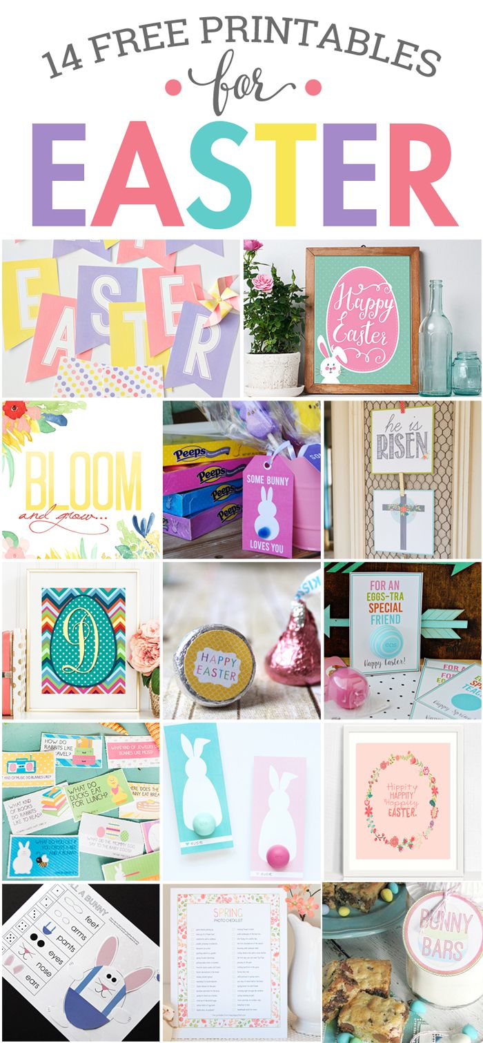Free Easter Printables - These 14 free printables are a great way to add inexpensive spring decor to your home, or give fun, seasonal gifts. #easter #spring #printable