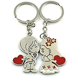 Angelia Stainless Metal Silver Kissing Couple Keychain Sweetheart Pendant Lovers Key Ring Key Chain Best Gift for Valentine's Day Wedding Anniversary